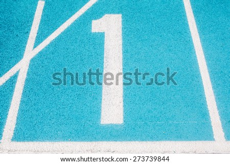 Athletic Surface Markings -- Number one -- in bright colors, using - stock photo