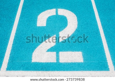 Athletic Surface Markings -- Number two -- in bright colors, using - stock photo