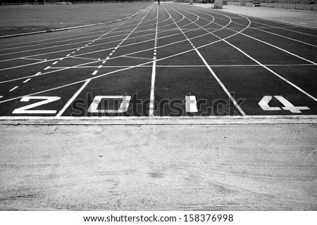 athletic track black and white, running , new year2014 - stock photo