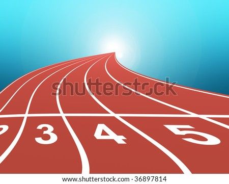 athletic track over blue background. abstract illustration - stock photo
