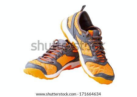 athletic unisex shoes isolated on white background - stock photo