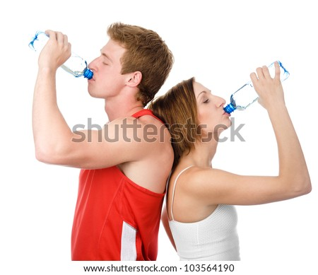 Athletic woman and man drink water. isolated on white background - stock photo