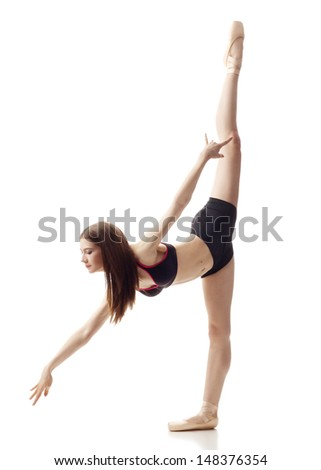 Athletic Woman doing an Arabesque  - stock photo