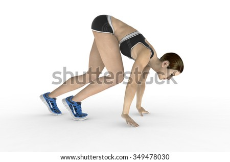 athletic woman in crouched starting position ready to start race.