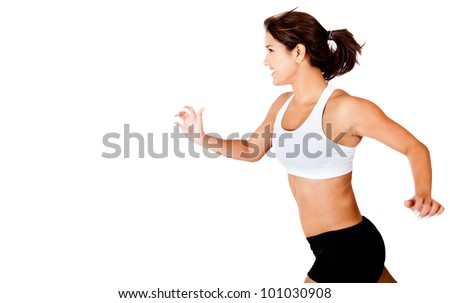 Athletic woman running - isolated over a white background - stock photo