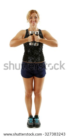 Athletic woman with dumbbells isolated on white background