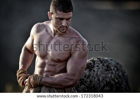 athletic young man outdoor, warrior