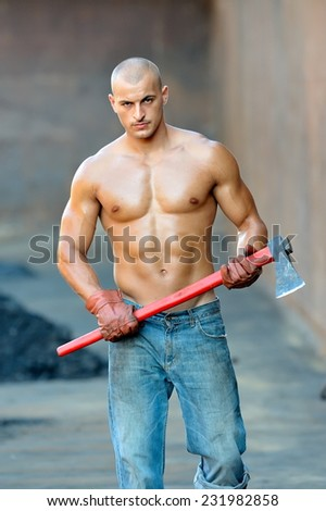 athletic young man outdoor working