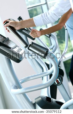 athletic young woman in fitnes traning - stock photo