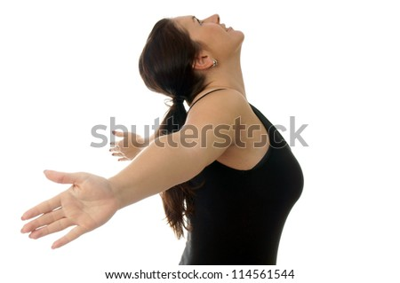 athletic young woman in fitness clothes / sporty woman - stock photo