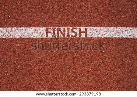 Athletics all weather running track texture finish text Concept Business Success  - stock photo