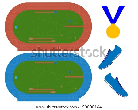 Athletics Field with Running Tracks in Red and Blue - stock photo