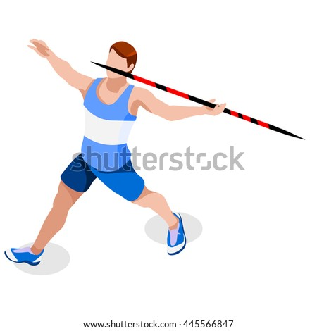 Athletics Javelin 2016 Summer Games Icon Set.3D Isometric Athlete.Sporting Championship International Athletics Competition.Sport Infographic Athletics High Jump olympics Illustration