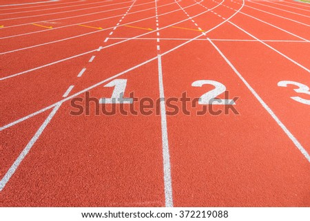 Athletics stadium with the numbering. Running track - stock photo