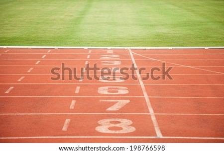 Athletics Track Lane Numbers and grass - stock photo