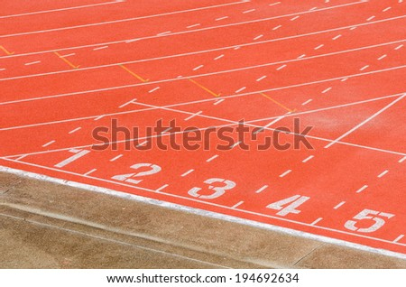 Athletics track with white  curve line
