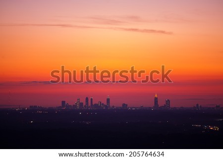 Atlanta downtown overlook at dusk from stone mountain - stock photo