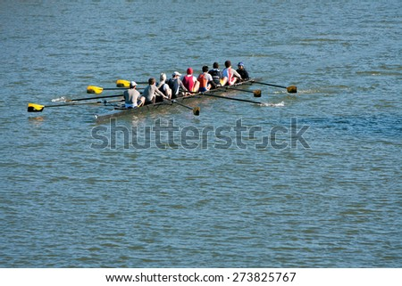 ATLANTA, GA - NOVEMBER 22:  A men's crew team from Emory University trains by rowing down the Chattahoochee River on a brisk fall morning on November 22, 2014 in Atlanta, GA.