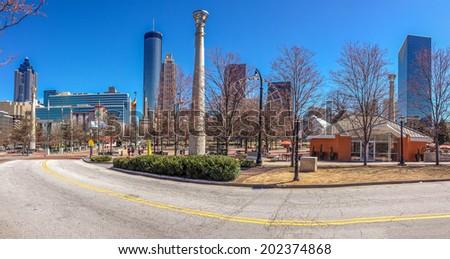 ATLANTA, GA, USA, MARCH 5, 2014 - Centennial Olympic Park was built for the Centennial 1996 Summer Olympics and remains a popular destination on March 5, 2014 in Atlanta, GA, USA  - stock photo