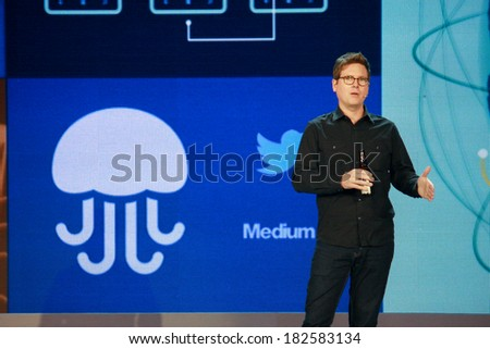 ATLANTA, GA, USA, MARCH 5, 2014 - Twitter founder Biz Stone makes speech at Microsoft Convergence conference in Georgia World Congress Center on March 5, 2014 in Atlanta, GA  - stock photo