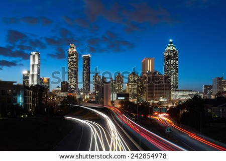 ATLANTA, GEORGIA - DECEMBER 2: Downtown Atlanta (east side) at dusk from the Jackson Street Bridge on December 2, 2014 in Atlanta, Georgia