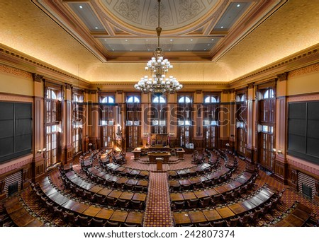 ATLANTA, GEORGIA - DECEMBER 2: House of Representatives Chamber in the Georgia State Capitol building on December 2, 2014 in Atlanta, Georgia  - stock photo