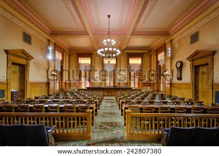 ATLANTA, GEORGIA - DECEMBER 2: Old Supreme Court Chamber (now the Appropriations Room) in the Georgia State Capitol building on December 2, 2014 in Atlanta, Georgia - stock photo
