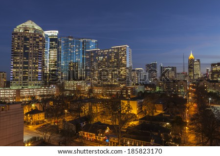 ATLANTA, GEORGIA - February 3, 2014:  Dusk view of modern high rise office and apartment towers in midtown Atlanta.