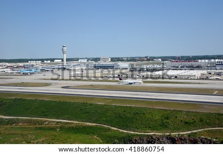 ATLANTA, GEORGIA - MAY 7, 2016: Aerial view of Hartsfield-Jackson Atlanta International Airport, on May 7, 2016 in Atlanta, Georgia. The Atlanta airport is the world's busiest airport. - stock photo