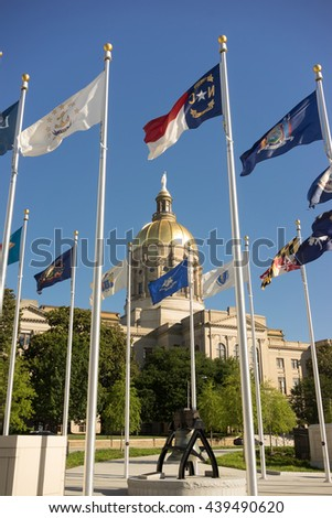 Atlanta Georgia State Capital Gold Dome City Architecture Flags Flying