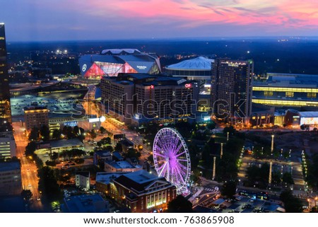 Atlanta, Georgia / United States - August 22, 2017: Centennial Park in downtown Atlanta at sunset