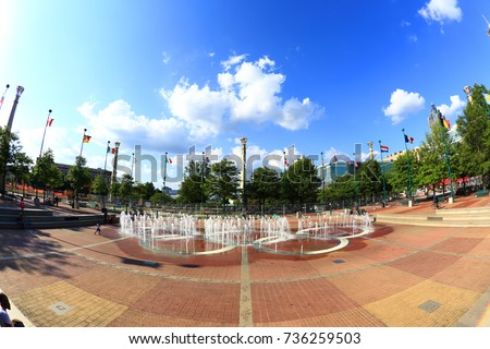 Atlanta, Georgia, USA - August 18, 2017: Centennial Olympic Park. The park commemorates the 1996 Atlanta Olympics and is a popular attraction.