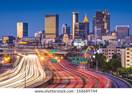 Atlanta, Georgia, USA downtown over the interstate highway. - stock photo
