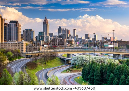 Atlanta, Georgia, USA downtown skyline. - stock photo