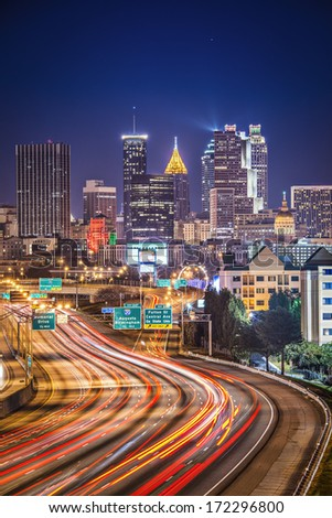 Atlanta, Georgia, USA highway and skyline. - stock photo