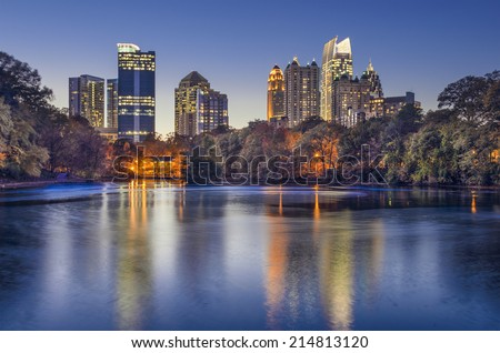 Atlanta, Georgia, USA midtown skyline from Piedmont Park. - stock photo