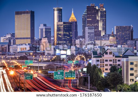 Atlanta, Georgia, USA twilight rush hour. - stock photo