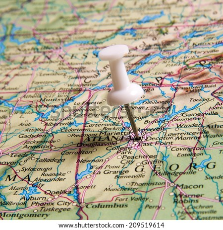 Atlanta  in the map with pin - stock photo
