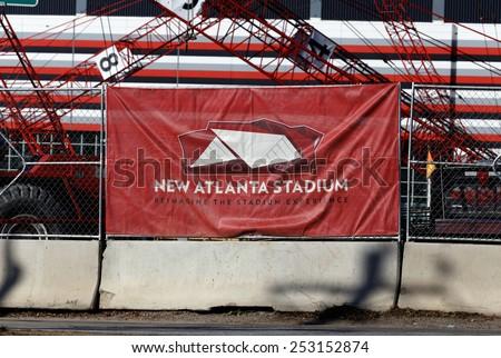 ATLANTA - JANUARY 25: The New Atlanta Stadium construction site in Atlanta, Georgia on January 25, 2015. The stadium will serve as the new home of the Atlanta Falcons of the NFL. - stock photo