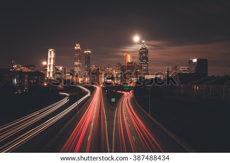 Atlanta midnight skyline, Georgia, USA - stock photo