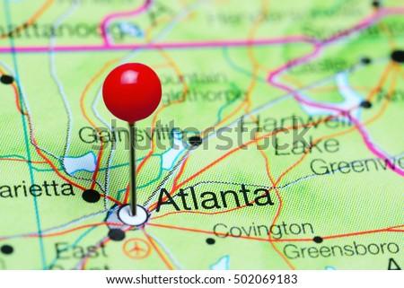 Atlanta Pinned On Map Georgia Usa Stock Photo Shutterstock - Georgia usa map