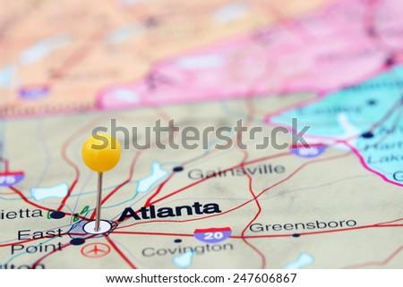 Atlanta Map Stock Images RoyaltyFree Images Vectors Shutterstock - Atlanta in map of usa