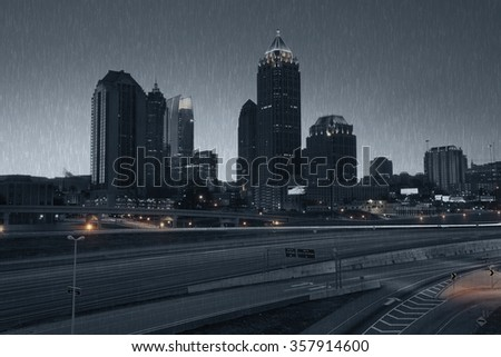 Atlanta skyline at rainy night, Georgia, USA - stock photo
