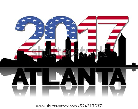 Atlanta skyline 2017 flag text illustration