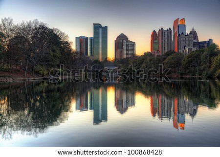 Atlanta Skyline from Piedmont Park - stock photo