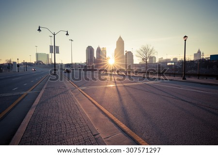 Atlanta street at sunrise, Georgia, USA
