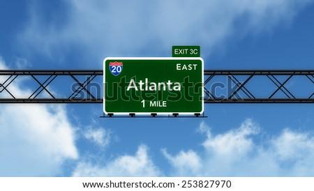 Atlanta USA Interstate Highway Sign 3D Illustration - stock photo