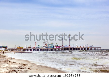 ATLANTIC CITY - JULY 13, 2010: View in the evening to famous Steel Pier  in Atlantic City, USA. Atlantic City's Steel Pier is sold for USD 4.25 million in AUG 2011 to Catanoso family. - stock photo