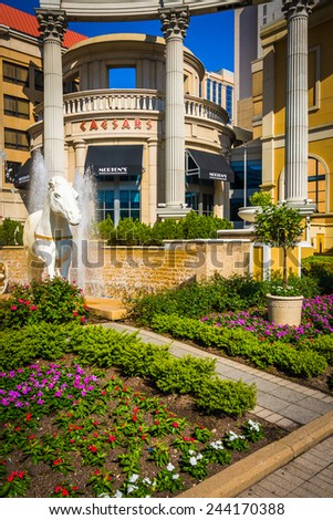 ATLANTIC CITY - MAY 30: Gardens outside Ceasars on May 30, 2014 in Atlantic City, New Jersey. Ceasars is a luxury hotel and casino in Atlantic City. - stock photo