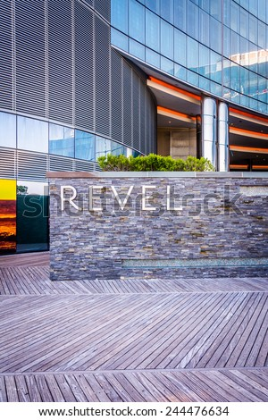ATLANTIC CITY - MAY 30: The exterior of Revel Casino Hotel on May 30, 2014, in Atlantic City, New Jersey. Revel is the tallest building in Atlantic City and a popular casino and resort. - stock photo
